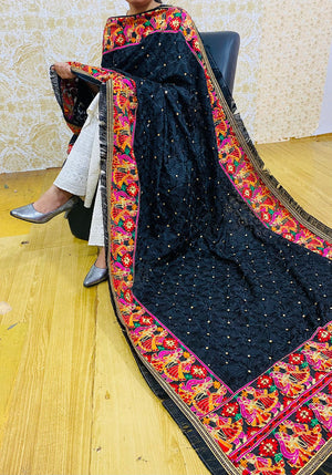 Violet Embroidered Art Silk Abaya Style Suit India Online