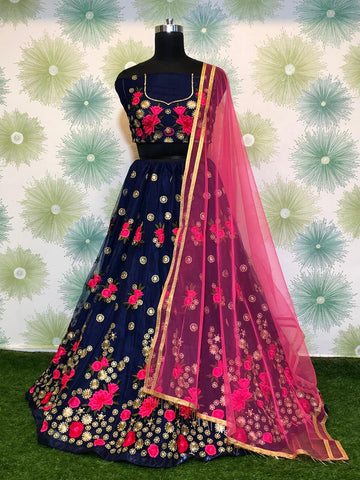 Navy Blue Net Embroidered Fancy New Collection Of Lehenga