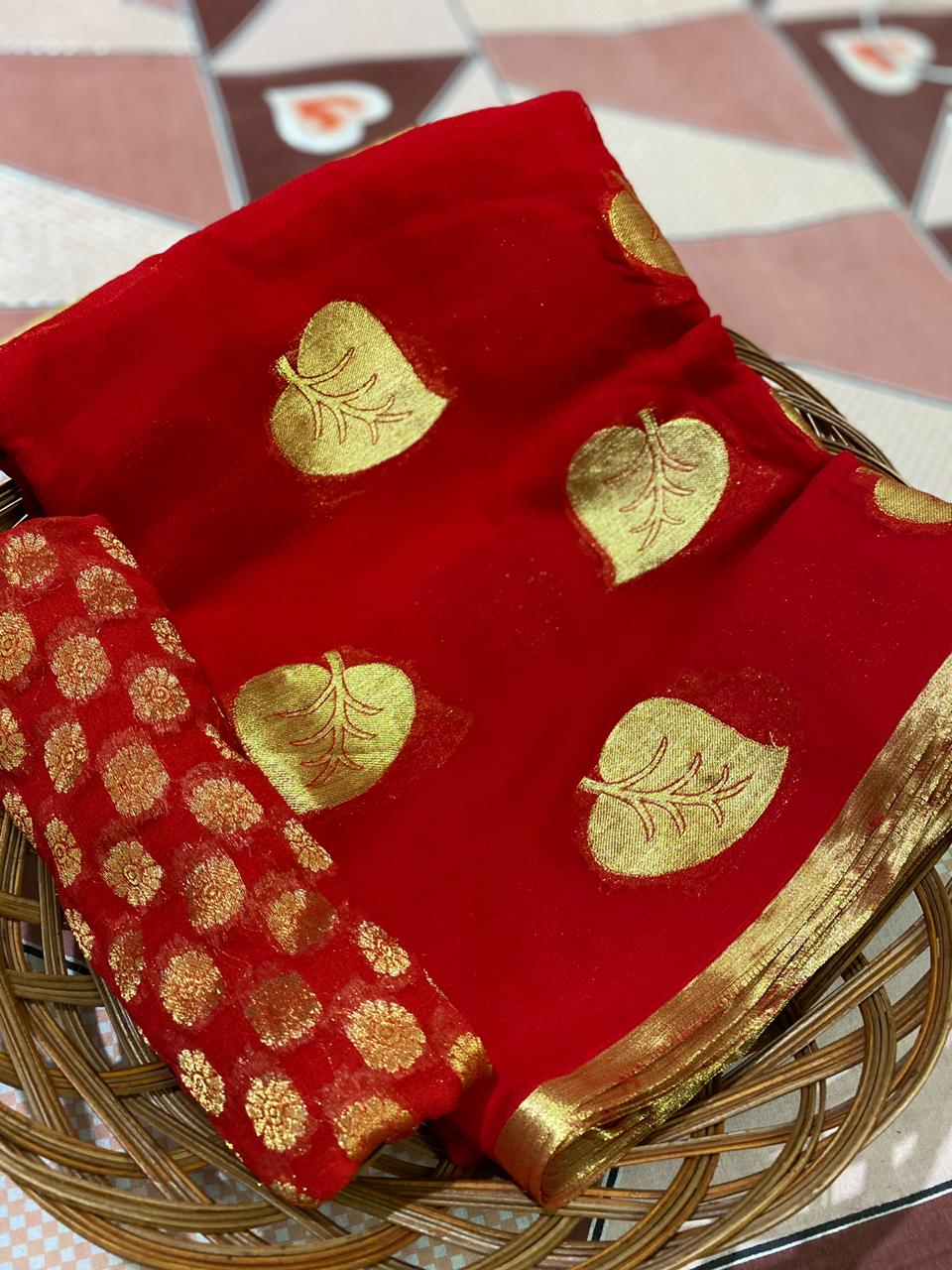 Red Banarasi Georgette Beautiful Leaf Designs Party Wear Saree Online
