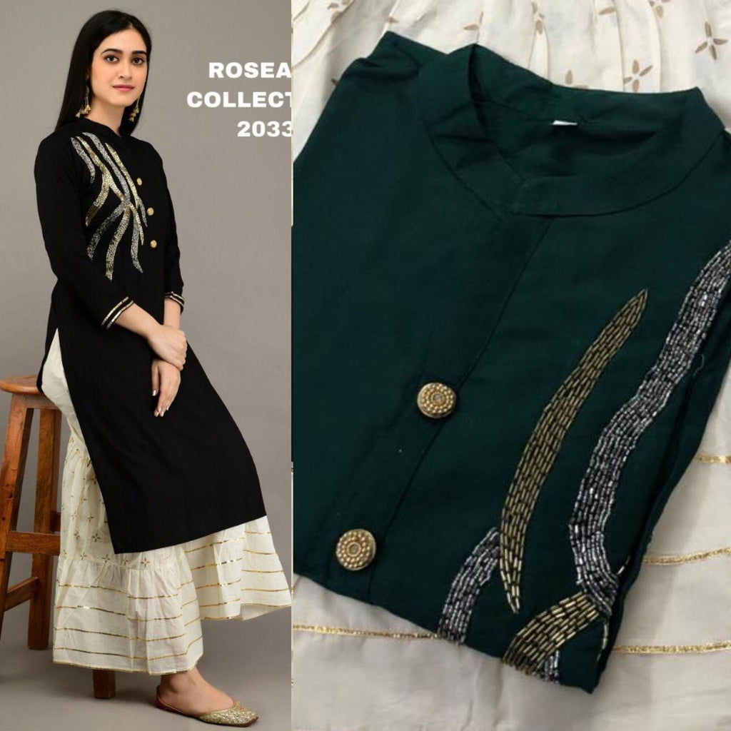 Dark Green Gota Embroidered Kurtis Sharara Salwar Suits Online
