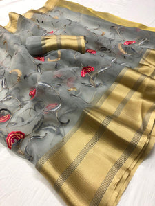 Grey Embroidered Organza Saree Online Clothes Shopping India