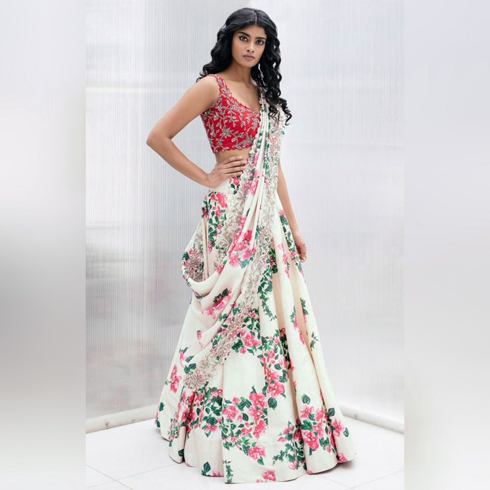 Light Cream Silk Floral Print Lehenga Choli India Online