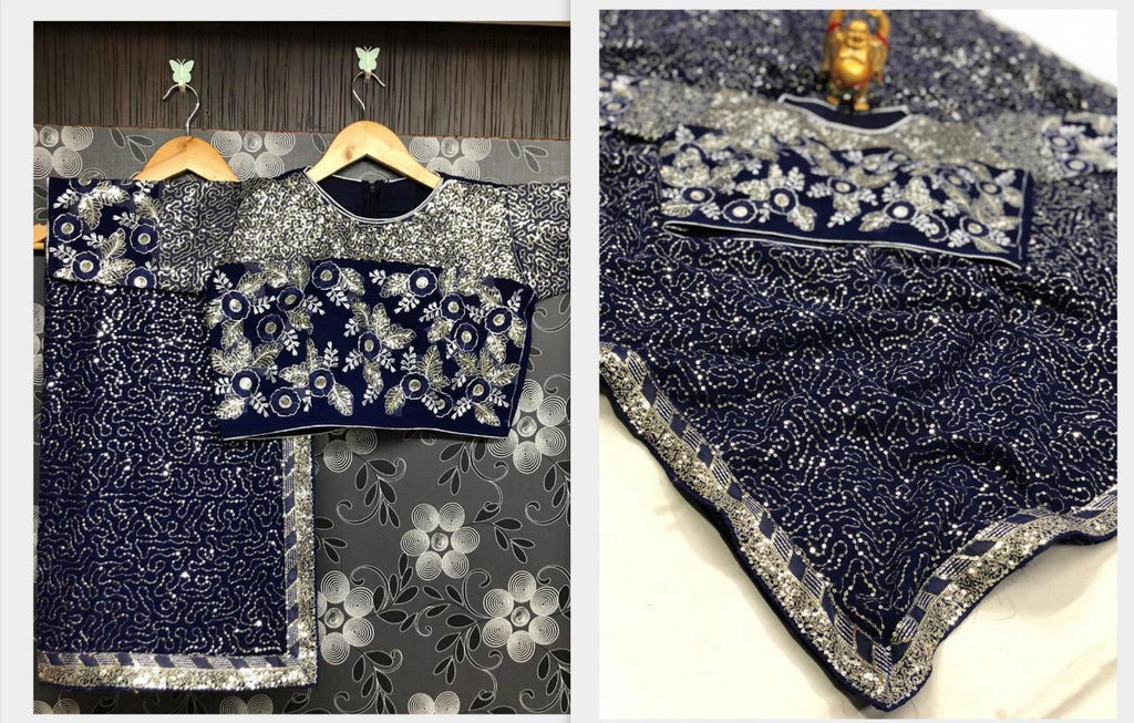 Dark Blue Georgette Sequins Fancy Sarees Online Shopping With Price