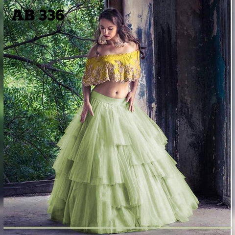 Light Pista Green Net Layered Pleated Ruffle Lehenga Blouse