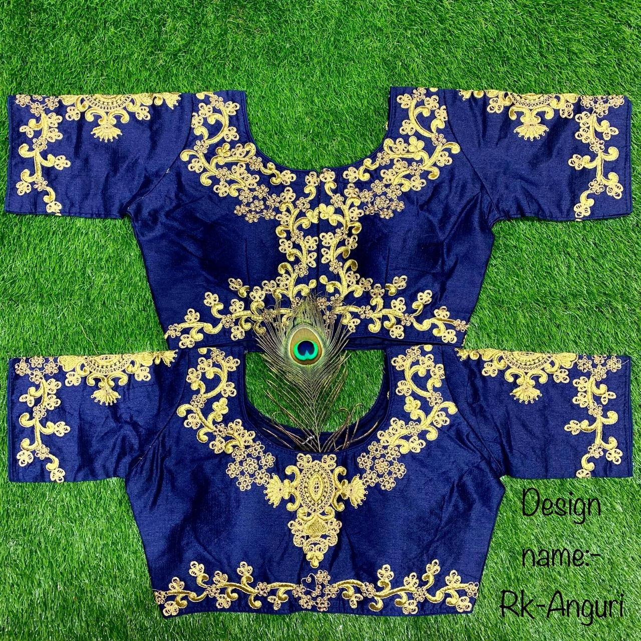 Navy Blue Silk Short Sleeve Embroidered Saree Blouse