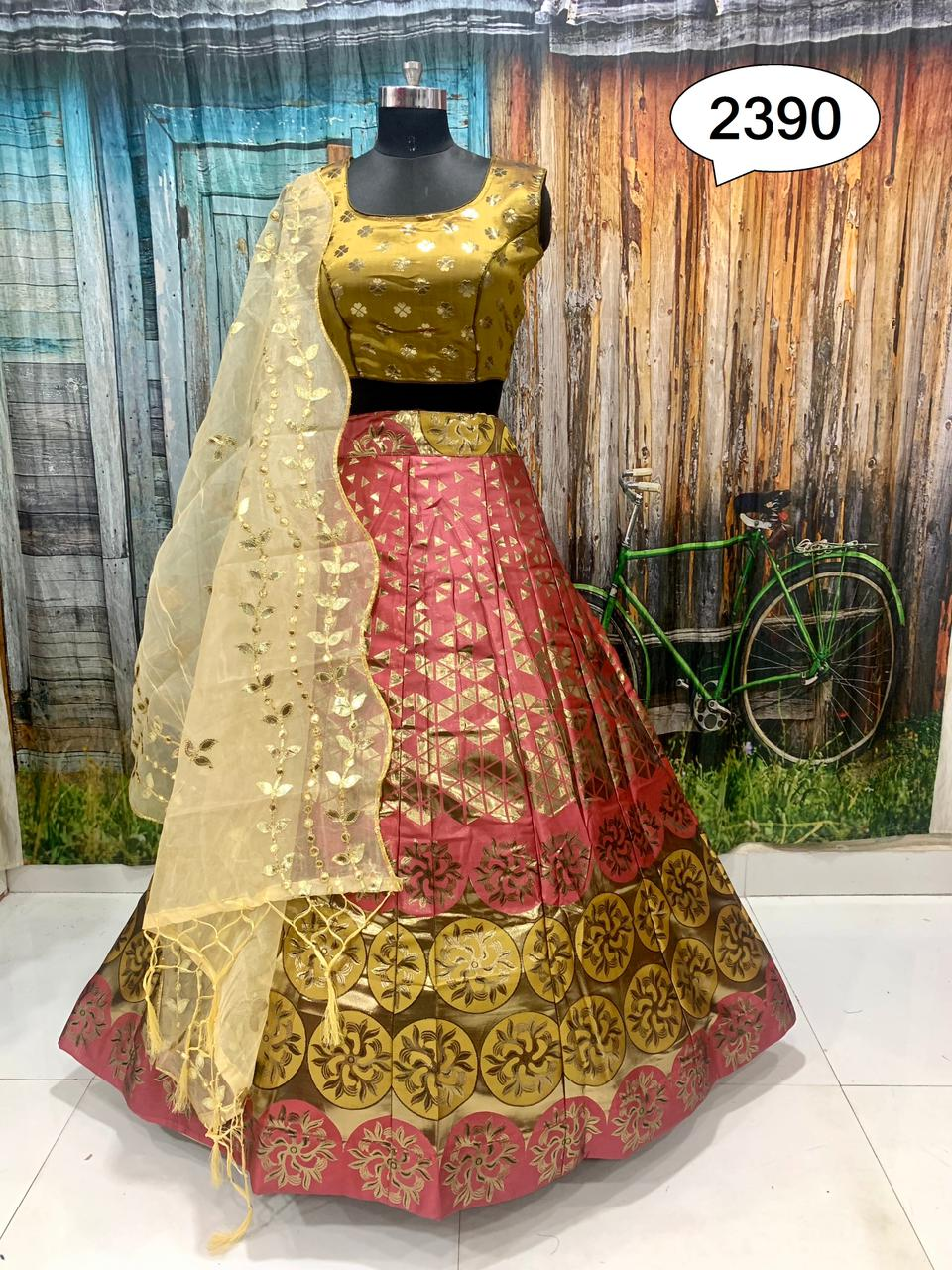 Pure Zari Peach Color Banarasi Fabric Lehenga Choli Online