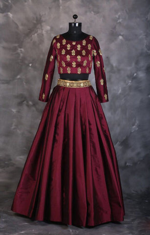 Maroon Raw Silk Embroidery Lehenga For Marriage