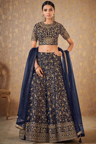 Embroidered Navy Blue Banarasi Latest Wedding Lehenga Designs