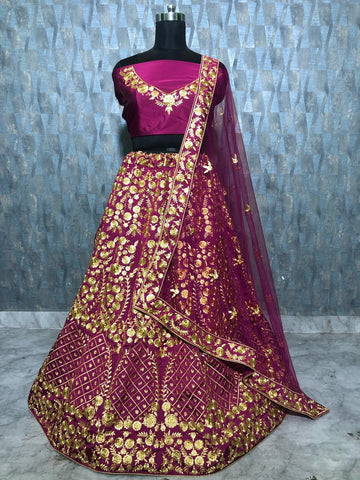 Wine Color Taffeta Silk Party Wear Lehenga Choli Online Shopping