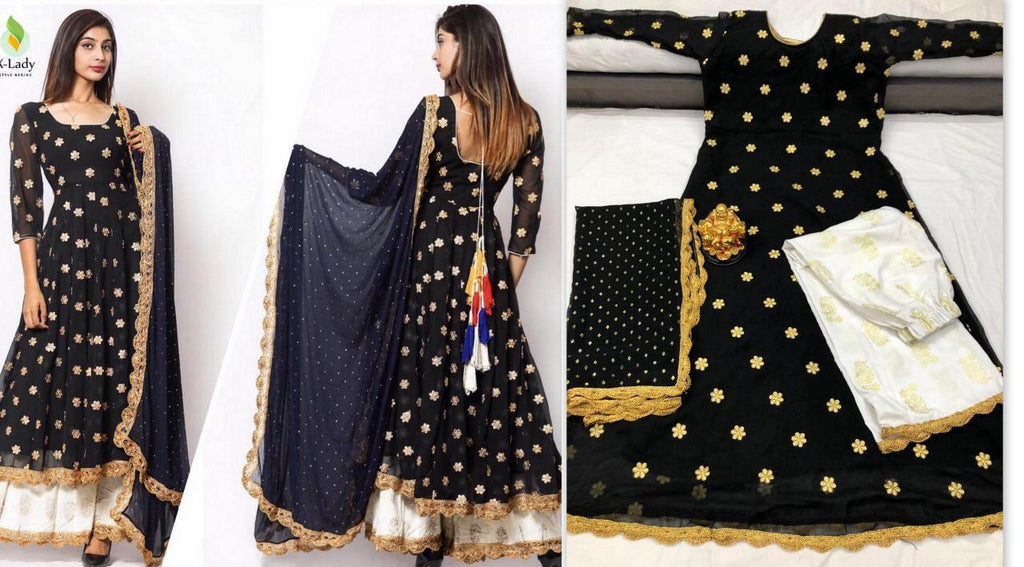Black Georgette Butti Work Kurta Palazzo Pants Online Shopping