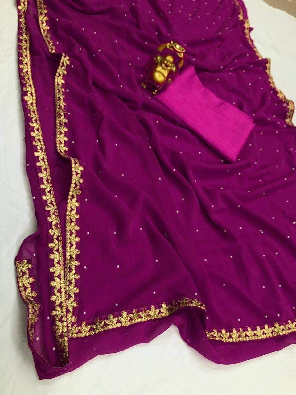 Wine Color Georgette With Pearl Online Saree Blouse Online Shop India