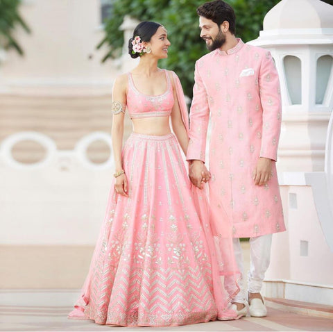 Light Pink Taffeta Silk Embroidered Latest Lehenga Choli Online Shopping