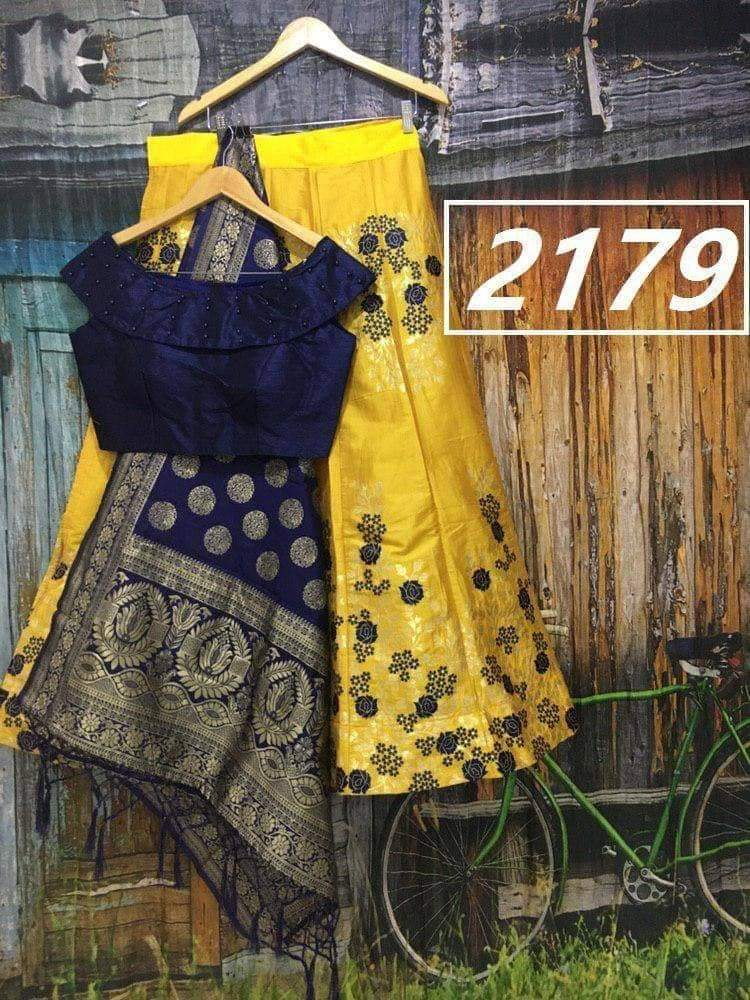 Yellow Banarasi Brocade Lehenga Suit Online Shopping