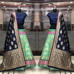 Banarasi Brocade Silk Lehenga with Blue Crop Top Blouse