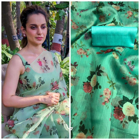 Kangana Ranaut Green Floral Printed Organza New Fashion Sarees In Indian
