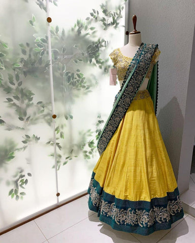 Yellow Taffeta Silk Simple Lehenga Online Shopping