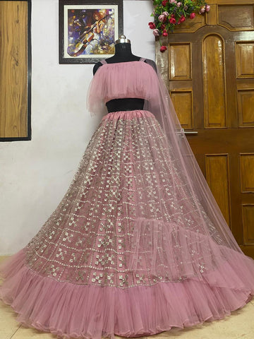 Misty Rose Embroidered Net Beautiful Party Lehenga With Price