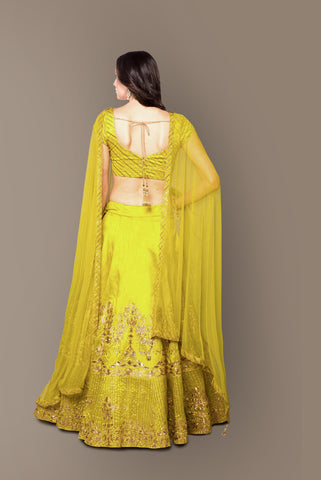Chartreuse Yellow Embroidered Silk Party Lehenga Choli Shop Online