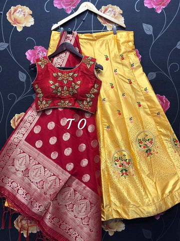 Bright Yellow Banarasi Brocade Silk Lehenga with Red Crop Top Blouse