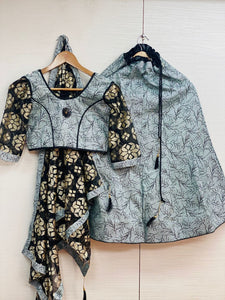 Grey Ready To Wear Kids Lehenga Blouse With Dupatta
