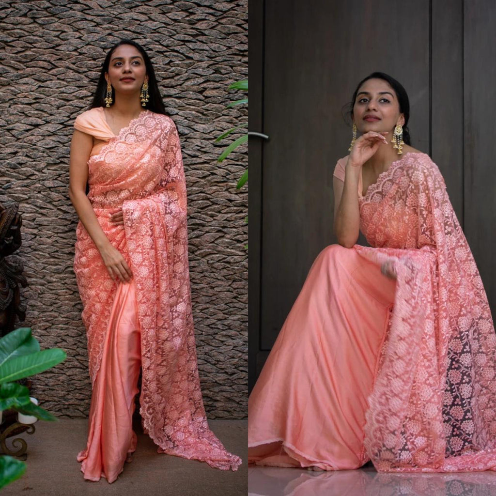 Peach Net and Silk Half and Half Latest Party Saree Designs