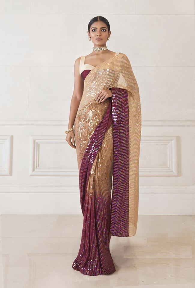 Purple Ombre Sequin Saree in Georgette Party Saree Shopping Online