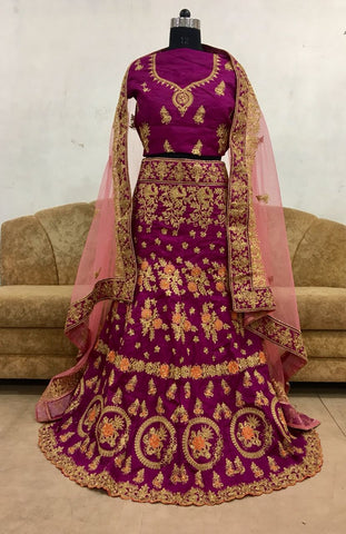 Magenta Banglorii Silk Embroidery Designs Beautiful Wedding Lehenga