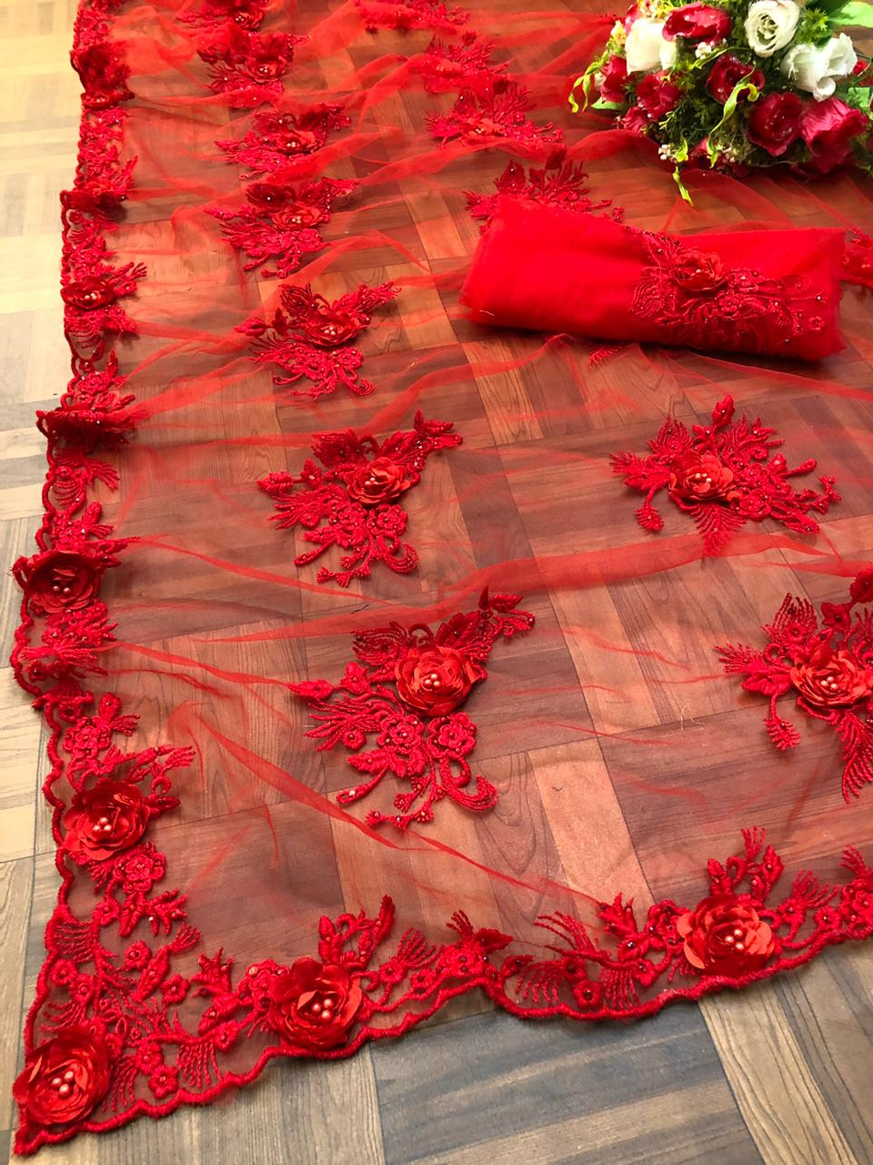 Red Net Embroidered Stone And Ribbon Work Party Saree Online