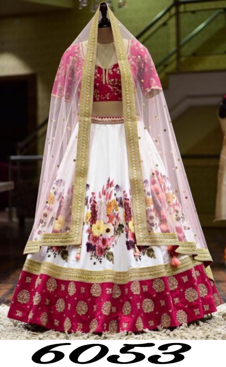 White Floral Digital Print Latest Indian Lehenga Cholis Online
