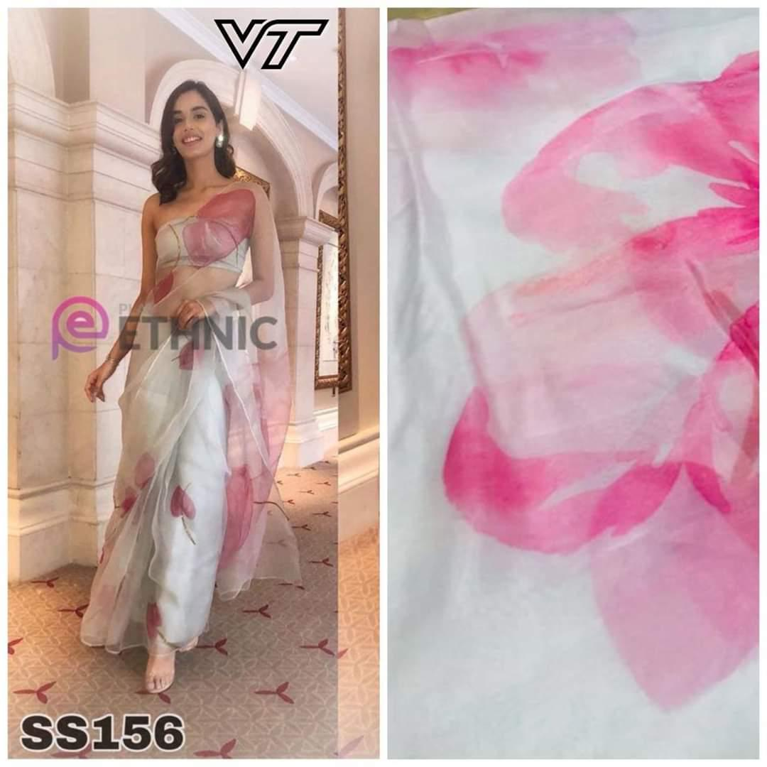 Beautiful white and Pink Floral Digital Printed Latest Organza Saree and Blouse Set