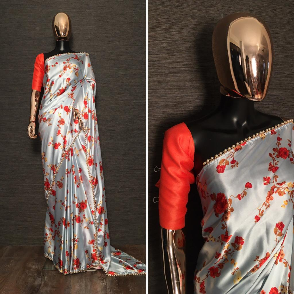 Silver Grey Satin Floral Print Pearl Lace Sarees Online Buy