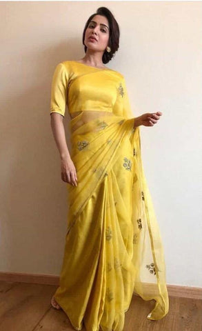Yellow Organza Embroidered Beautiful Party Wear Sarees Online