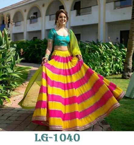 Pink And Yellow New Lehenga Style Online Shopping In India