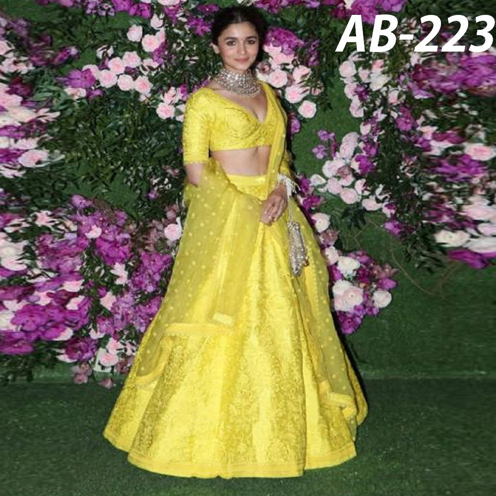 Alia Bhatt Yellow Taffeta Silk Embroidered Bollywood Lehenga Designs