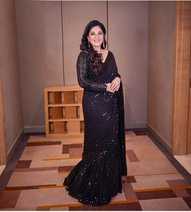 Black Georgette Sequins Party Wear Stylish Saree Online Shopping