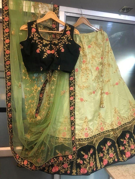 Pista Green Embroidered Latest Lehenga Designs For Wedding