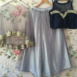Awesome Designer Cape Style Grey Lehenga Choli ,Indian Dresses - 2