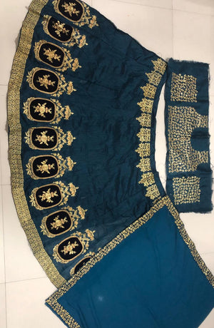 Teal Banglori Silk Embroidery New Lehenga Choli Online Buy