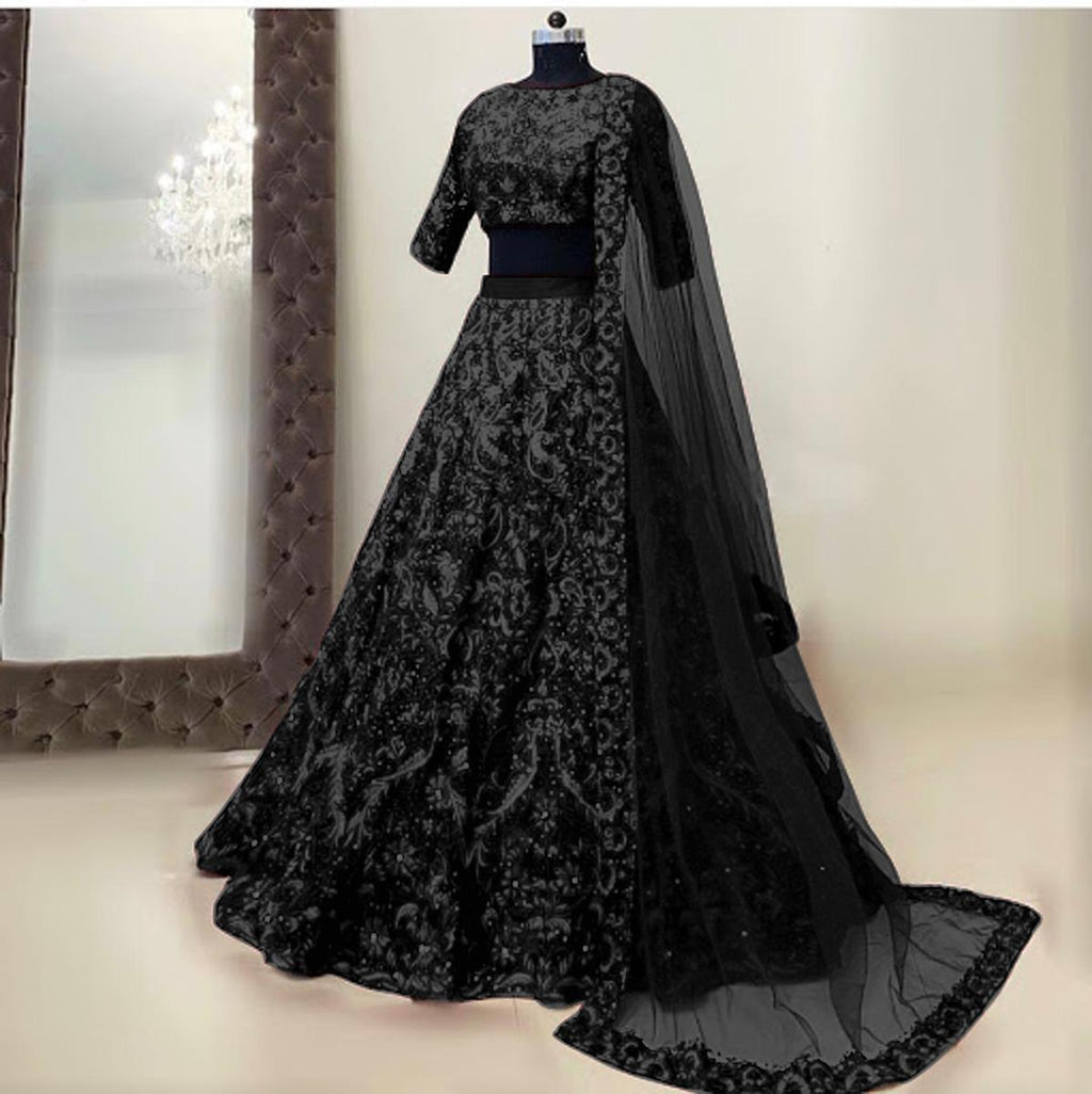 Black Hotselling Silk Embroidered Lehenga Choli in 5 colors