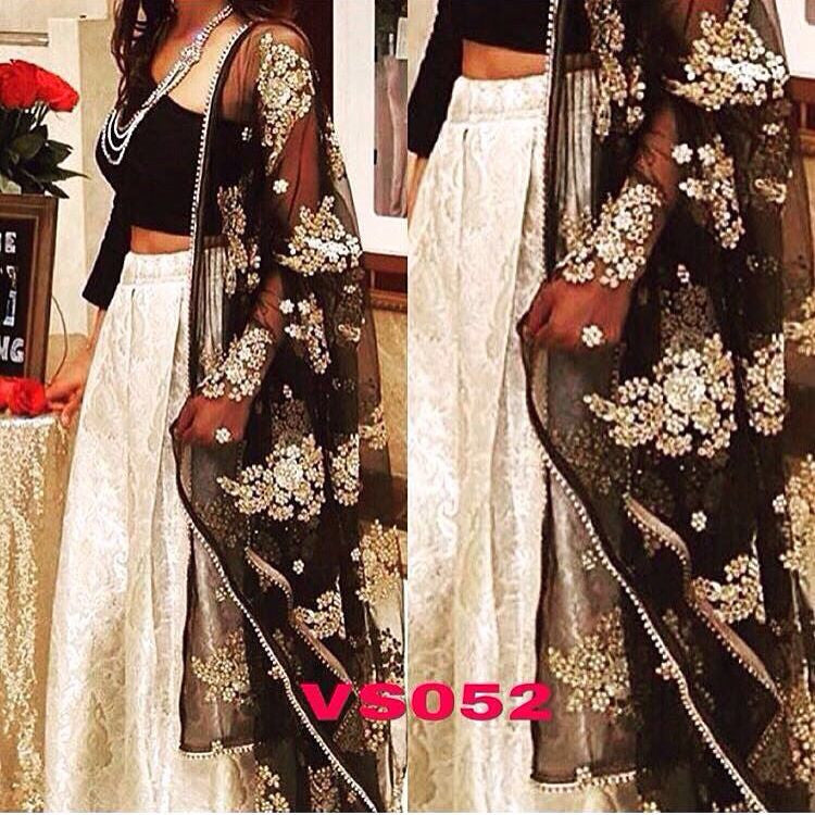 Cream And Black Silk Lengha Choli Fashion Dress