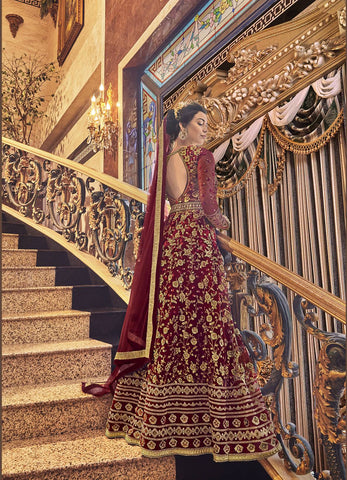 Maroon Embroidered Net Gown Style Long Salwar Kameez Online