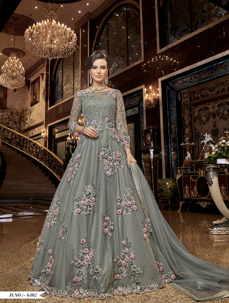 Grey Embroidered Net Gown Style Latest Salwar Kameez India Online