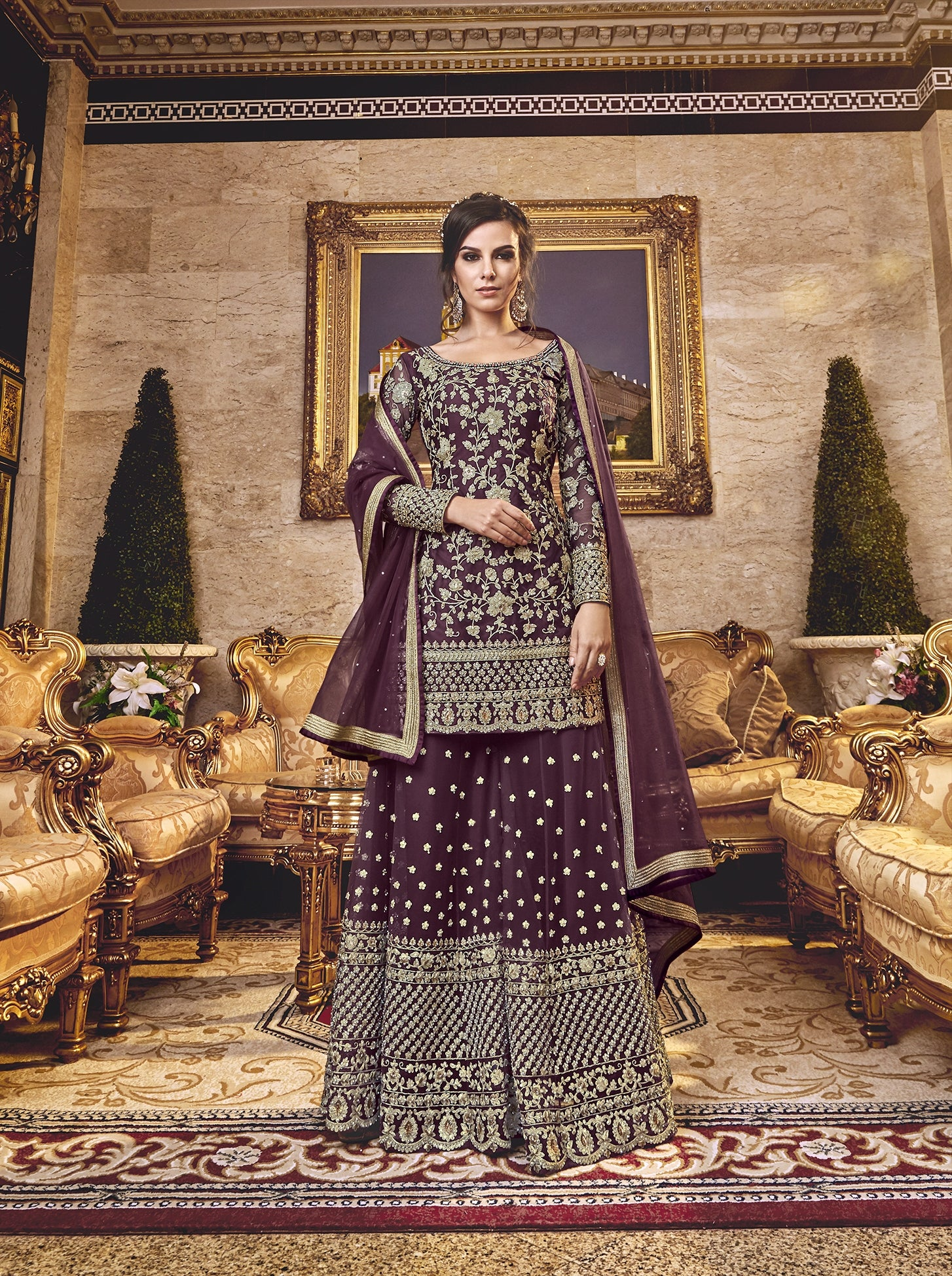Wine Net Embroidered Palazzo Latest Salwar Suit Styles