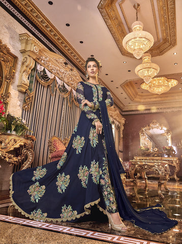 Navy Blue Satin Silk Embroidered Latest Salwar Kameez