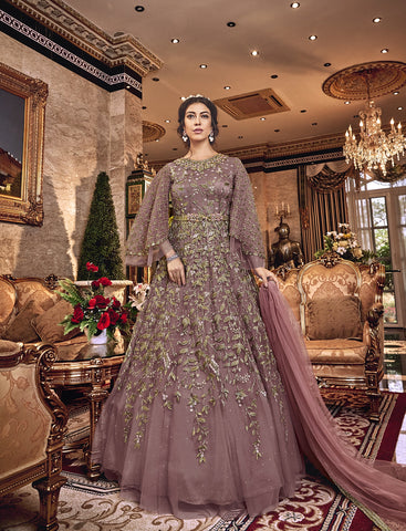 Dusty Rose Embroidered Net Gown Style Salwar Dress Online