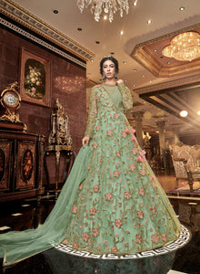 Pastel Green Embroidered Net Gown Style Latest Designer Indian Suits