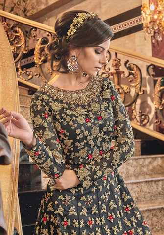 Grey Embroidered Net Jacket Style Latest Trend Salwar Kameez