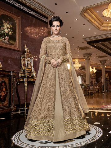 Embroidered Beige Net Indo Western Lehenga Salwar Dress Online