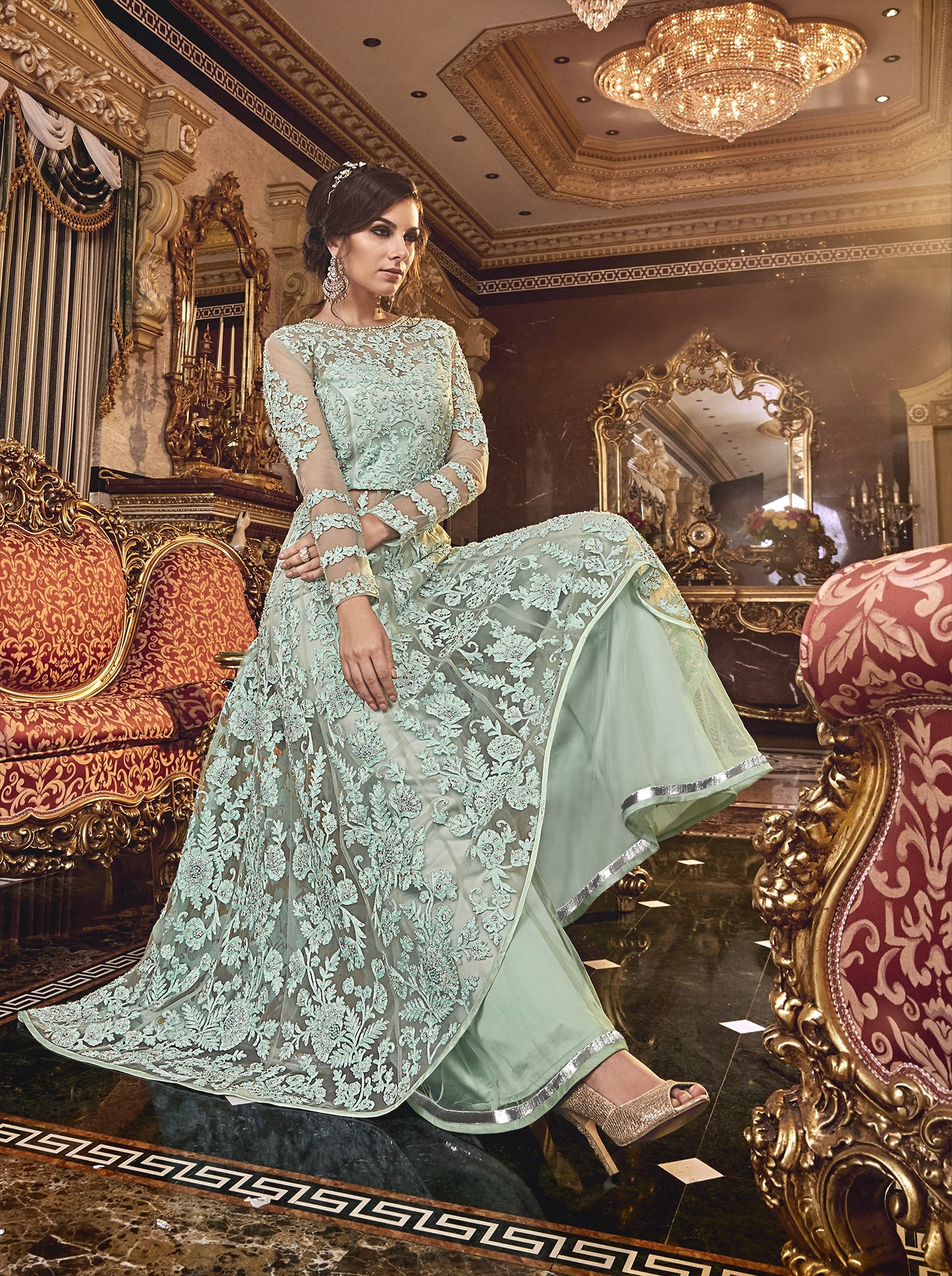 Pastel Green Embroidered Net Latest Indian Wear Online India