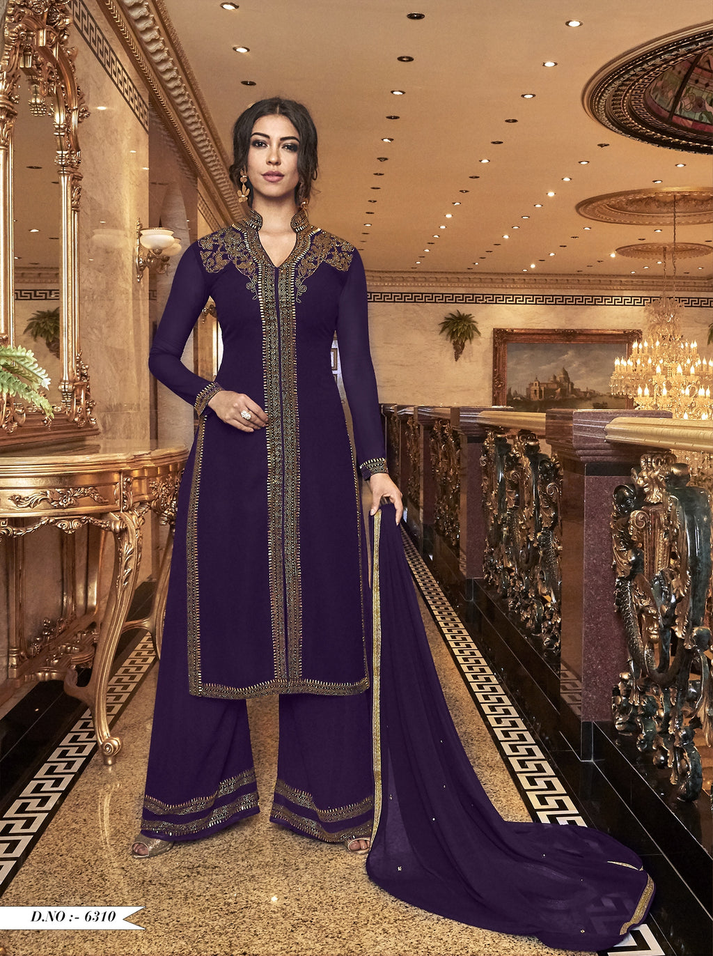 Purple Embroidered Georgette Fancy Palazzo Pakistani Suit Designs